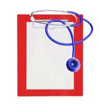 Stethoscope and red clipboard Stock Photography