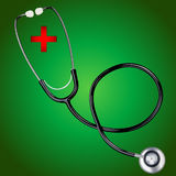 Stethoscope with red  cross Stock Photography