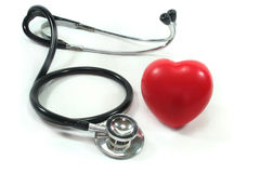 Stethoscope with red heart Royalty Free Stock Image