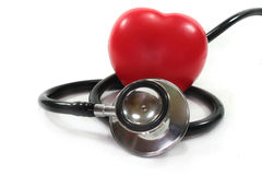 Stethoscope with red heart. On a white background stock photography
