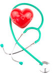 Stethoscope with red heart Stock Photos