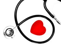Stethoscope and a red heart Stock Image
