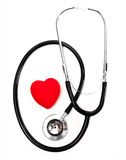 Stethoscope and a red heart Royalty Free Stock Image