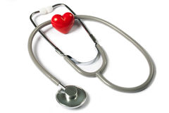 Stethoscope & red heart Stock Image