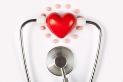 Stethoscope & red heart Royalty Free Stock Image