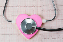 Stethoscope and red heart . Stethoscope and heart on a background of cardiogram stock photo