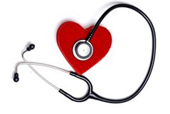 Stethoscope with a red heart box Stock Photos