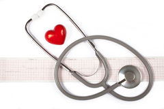 Stethoscope, red heart and cardiogram Stock Photos