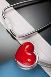 Stethoscope, red heart and cardiogram Stock Images