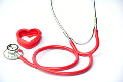 Stethoscope and red heart for healthy on white background isolate Royalty Free Stock Photos