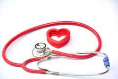 Stethoscope and red heart for healthy on white background isolate Stock Photo