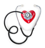 Stethoscope on red heart Stock Photography