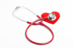 Stethoscope and red heart Stock Photos