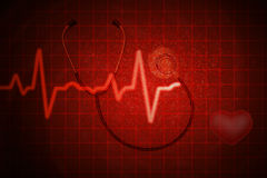 Stethoscope  with  Red  Heart Monitor with Alpha Royalty Free Stock Images