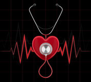 Stethoscope on a red heart render Stock Photography
