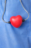 Stethoscope with red heart shape Stock Photo