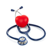 Stethoscope with red heart - studio shoot on white - 1 to 1 ratio Stock Images