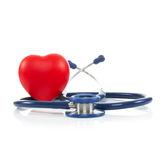 Stethoscope with red heart - 1 to 1 ratio Royalty Free Stock Images