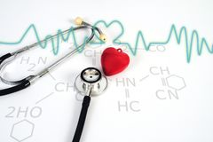 Stethoscope with red heart on white table .Medical accessories. With copy space royalty free stock photography