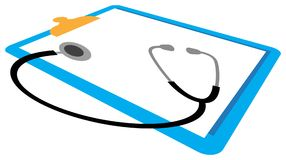Stethoscope and report pad. Line art work Stock Image