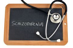 Schizophrenia written on a school slate royalty free illustration
