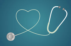 Stethoscope in shape of heart Royalty Free Stock Photos