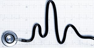 Stethoscope in shape of heart beat on electrocardiogram. Tinted in blue. Stethoscope in the shape of heart beat on electrocardiogram. Tinted in blue royalty free stock photography