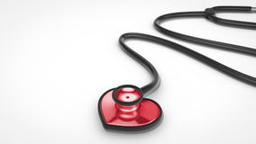 Stethoscope in shape of heart. On white background Royalty Free Stock Photography