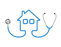 Stethoscope in shape of house in blue design Stock Photos