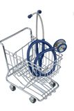 Stethoscope and shopping cart Stock Photos