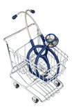 Stethoscope and shopping cart Royalty Free Stock Images