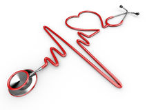 Stethoscope and a silhouette of the heart and ECG. 3d Stock Photos