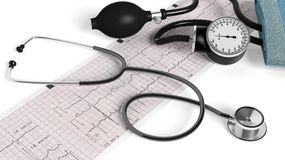 Stethoscope,sphygmomanometer and cardiogram Royalty Free Stock Photography