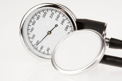 Stethoscope and sphygmomanometer. (close up view stock image