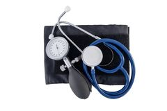 Stethoscope and sphygmomanometer isolated on white background stock images