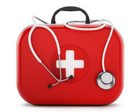 Stethoscope standing on first aid kit. 3D illustration.  Stock Images