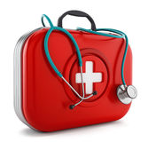 Stethoscope standing on first aid kit. 3D illustration.  Stock Image