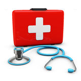 Stethoscope and suitcase Royalty Free Stock Photography