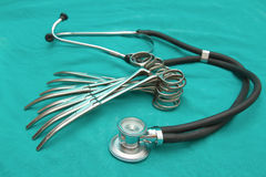 Stethoscope and surgery instrument set Stock Photo