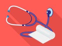 Stethoscope swathe icon, flat style stock illustration