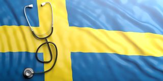 Stethoscope on Sweden flag, 3d illustration Royalty Free Stock Photography