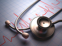 Stethoscope. On a table with a heart graphic. Clipping path included Royalty Free Stock Photo