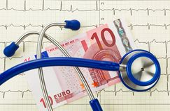 Stethoscope and ten euro note Royalty Free Stock Photo