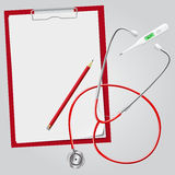 Stethoscope, thermometer, clipboard, pencil. Stock Image