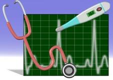 Stethoscope thermometer ECG. Illustration of stethoscope, thermometer and ECG with white and blue background Stock Image