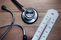 Stethoscope and thermometer Royalty Free Stock Photography