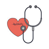 Stethoscope to listen red heart beat Royalty Free Stock Photography