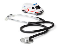 Stethoscope and toy ambulance car Royalty Free Stock Image