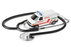 Stethoscope and toy ambulance car Royalty Free Stock Photos