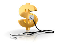 Stethoscope up against a golden dollar sign stock illustration